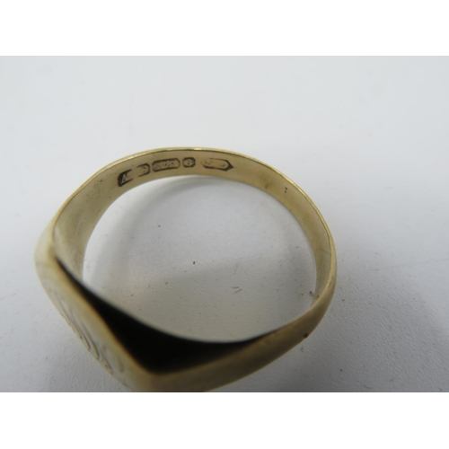 429 - 9ct hallmarked gold signet ring, engraved with initials & dedication and a pair of 9ct gold oval cuf...