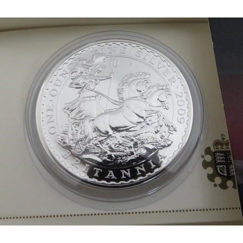 9 - Royal Mint Britannia £2 silver Bullion coins 2009 10 & 11, in card slips (3)...