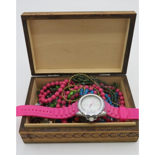 432 - Marea quartz wrist watch, and a collection of costume jewellery beads, brooches etc in wooden jewell...