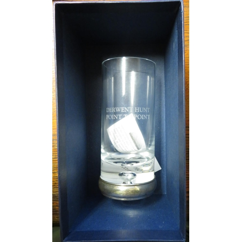 434 - Modern hallmarked silver mounted glass tumbler, engraved 'Derwent Hunt Point to Point' in box, H16cm...