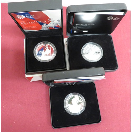 10 - Royal Mint Britannia £2 silver Bullion coins 2014 15 & 16, in boxes with card slips (3)...