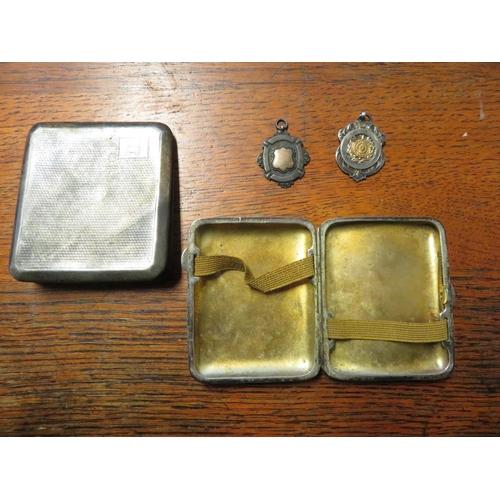 435 - Geo. V hallmarked engine turned silver cigarette case, Birmingham 1929, two Geo. VI hallmarked silve...