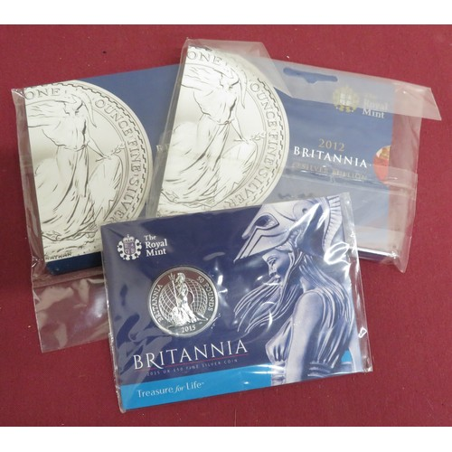11 - Royal Mint Britannia £50 silver Bullion coin and two similar for 2012,  in original packaging (3)...