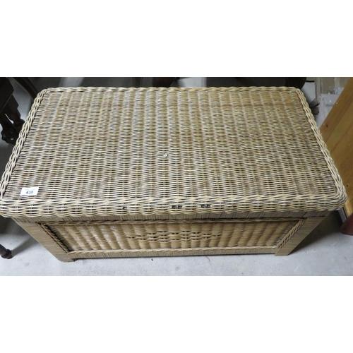 438 - Lloyd Loom style woven fibre rectangular blanket box L84cm W44cm H42cm...