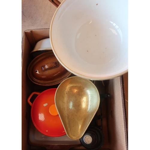 447 - Burnt orange enamel casserole dish, a set of kitchen scales with brass pan and weights, a large kitc...