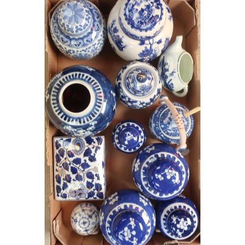 452 - Pair of Japanese blue and white tea caddies and covers decorated with prunus , two other smaller, an...