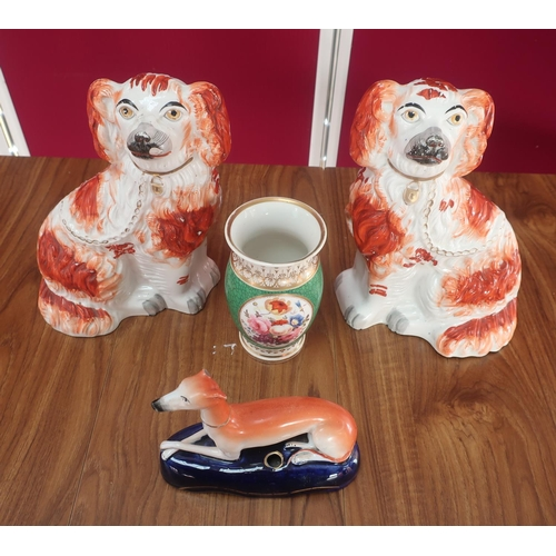 455 - Pair of Victorian Staffordshire fireside Spaniels, red sponged decoration with gilt leads and collar...