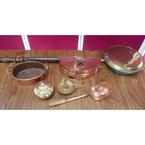 456 - Brass warming pan on turned wooden handle, copper foot warmer, skimmer and oval planter and other me...