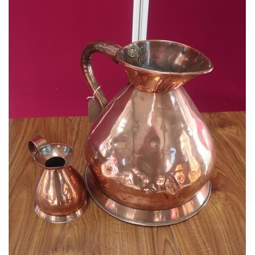 457 - Victorian copper two gallon measure, with brass plaque for L Lumley & Co America Square London, stam...