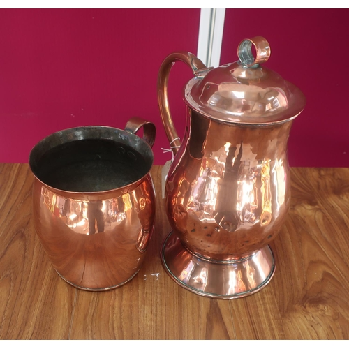 458 - Early 20th C copper flagon, baluster body with loop handle, hinged lid with ring finial, on tapered ...