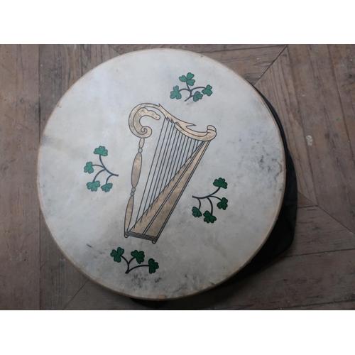 476 - Irish Bodhrán drum with baton and case...