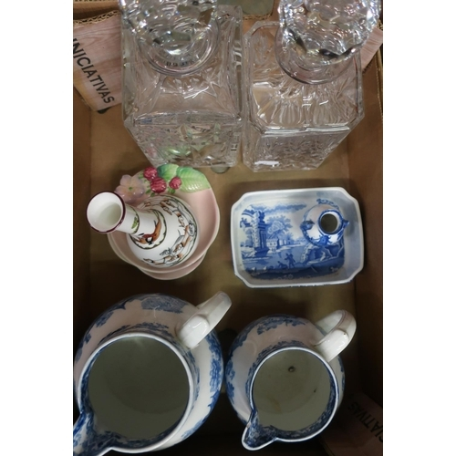467 - Two early 20th C Mintons graduated  blue & white print ware jugs, Copeland Spode 'Italian' dish, a r...