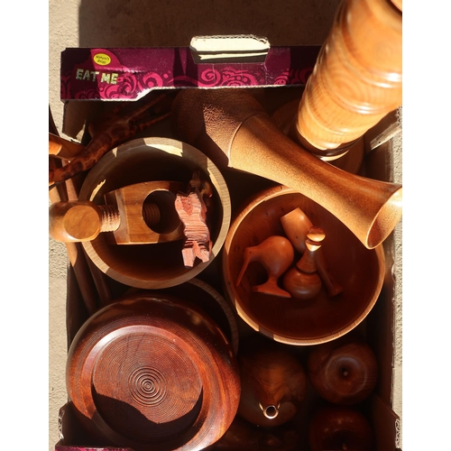 448 - Collection of treen including a set of napkin rings on stand, turned yew fruit, coaster, bowls, nutc...