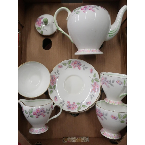 478 - Mid 20th C Foley floral pattern Tea for Two tea set
