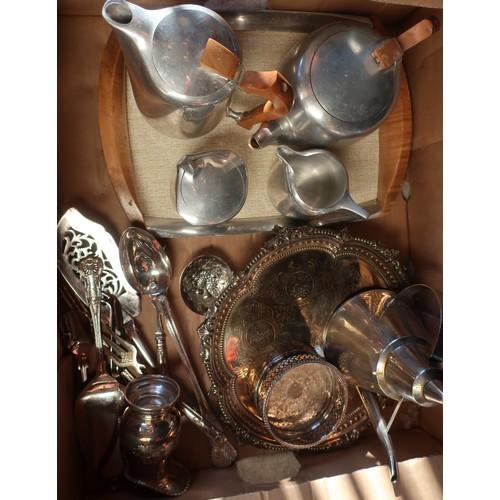 455a - Picquot ware four piece tea service on tray, an EPNS circular salver with raised border, various EPN...