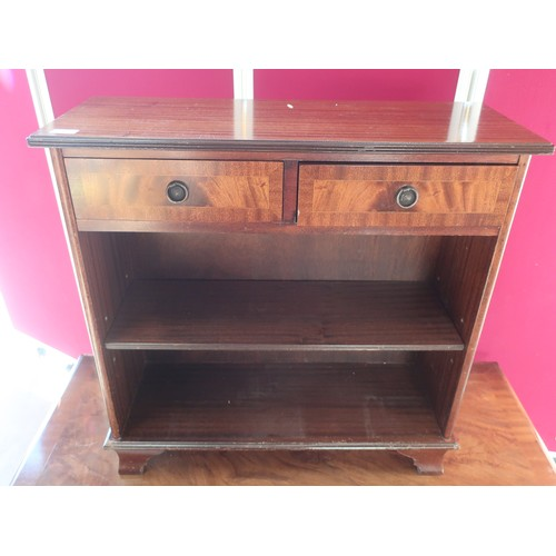 436 - Chippendale style mahogany rectangular coffee table, two end drawers on square moulded support joine...