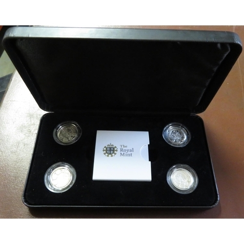 17 - Royal Mint 2010 UK Capital City four-coin presentation set of silver proof £1 coins, in case with ca...