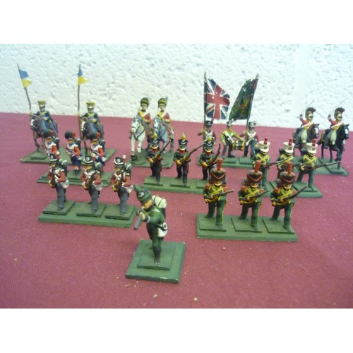 75a - Metal case containing  large selection of various painted Napoleonic figures including foot soldiers...