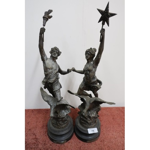 503 - Pair of late 19th C French Spelter figures of 'La Nuit', and 'Le Jour' (sold as lot 520 Dec 19 sale)