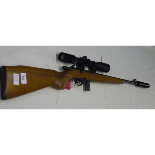 336 - Magtech 8122 bolt action .22 rifle fitted with sound moderator and Leapers 6x42 scope, serial no. HL...