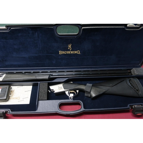 451 - Cased Browning Cynergy 12B over and under ejector shotgun with 32 inch barrels with extended and adj...