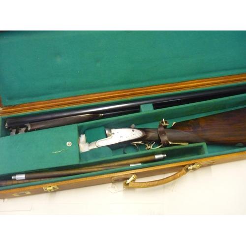 452 - Cased Charles Lancaster 12 bore side by side side-lock ejector shotgun with 30 inch barrels, choke 1...