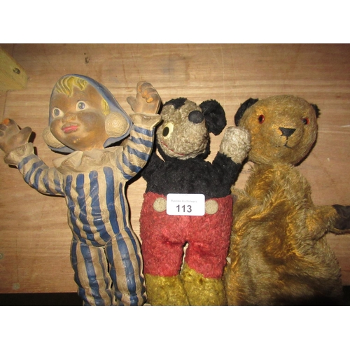 113 - A Chad Valley plush model of Micky Mouse, a Bendy toy Andy Pandy, a plush Sooty glove puppet...