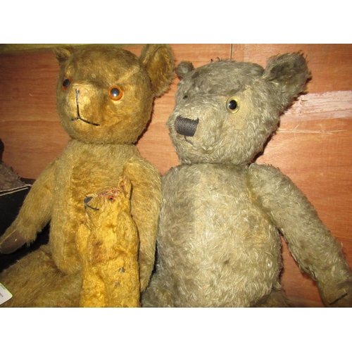 114 - Yellow plush teddy bear, a Merrythought type bear  (repaired nose) a small straw filled plush bear (...