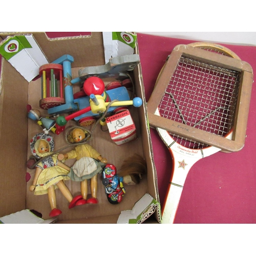 117 - Tiger Toys pull-along model of a donkey, an early Brio windmill, two peg dolls, a small gyroscope, a...