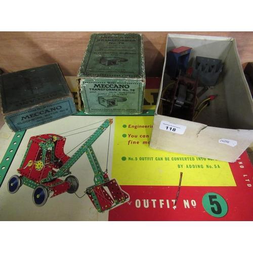 118 - Meccano outfit number 5 in original box, a Meccano clockwork motor number II reversing MO202, a T6 t...
