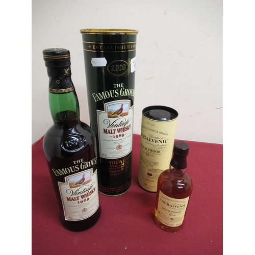 137 - The Famous Grouse Vintage Malt Whisky 1989, Aged 12 years, 70cl 40%vol, in tin tube, & The Balvenie ...