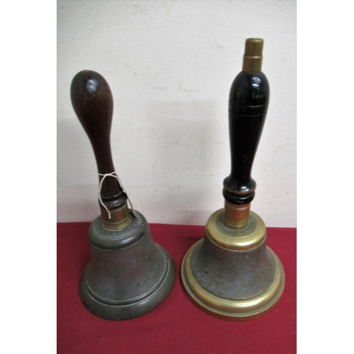 81 - Two Town Criers hand bells, formally the property of Alan Booth MBE H31.5cm H35cm...