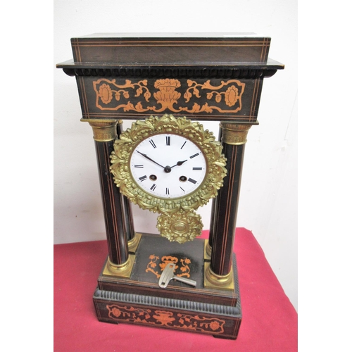 1 - 19th C French ebonised and marquetry portico clock,  two train count wheel striking movement numbere...