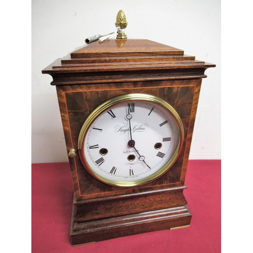 10 - 20th C inlaid mahogany Georgian style mantel clock retailed by Knight & Gibbons of London, three tra...