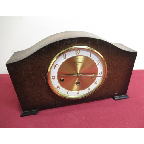 11 - 20th C Bentima oak cased mantel clock, three train Westminster chiming movement with floating suspen...