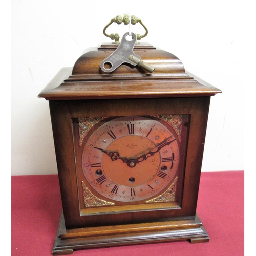 12 - 20th C Georgian style cased bracket clock with silvered chapter, three train triple chiming movement...