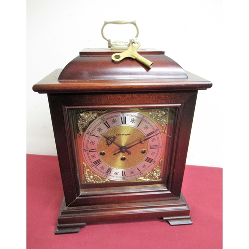 13 - 20th C mahogany cased Georgian style bracket clock with brass dial, silvered chapter with three trai...