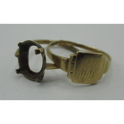 131 - 9ct gold signet ring (cut) and a 9ct gold ring (lacking stone), both stamped 9ct, (2) 3.2g...