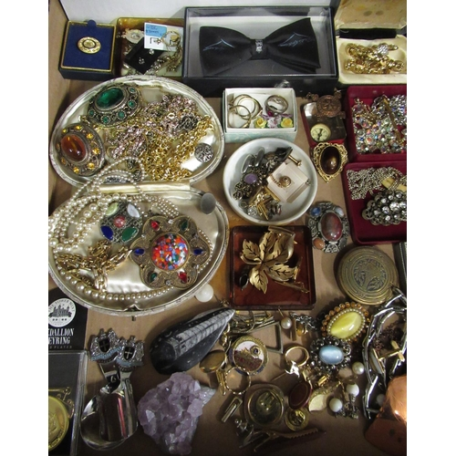 135 - Large collection of costume jewellery including miniature compass, St Johns Ambulance medallion, bro...