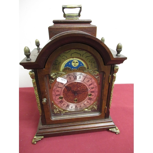14 - 20th C walnut cased Georgian style bracket clock, brass break arch dial with silvered chapter and mo...