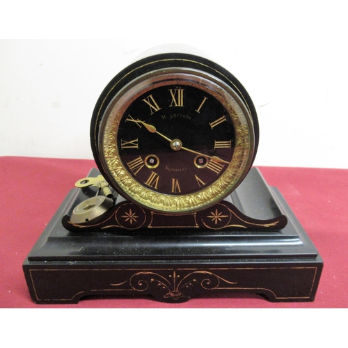 15 - French 19th C slate mantel clock, drum head on scrolled stepped base with gilt decoration, two train...