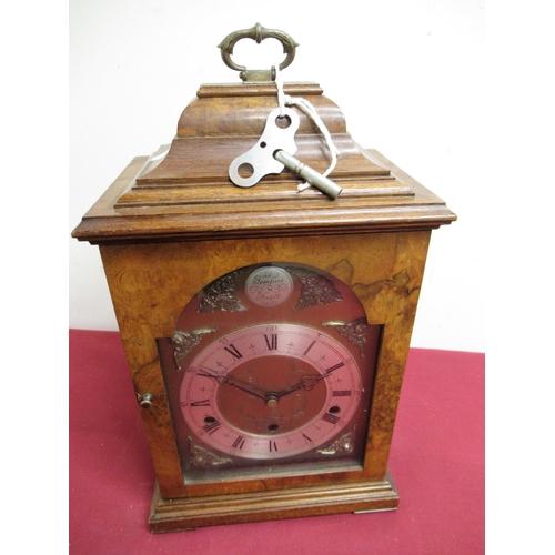 16 - 20th C Georgian style Elliot burr walnut cased bracket clock, break arch brass dial with silvered ch...