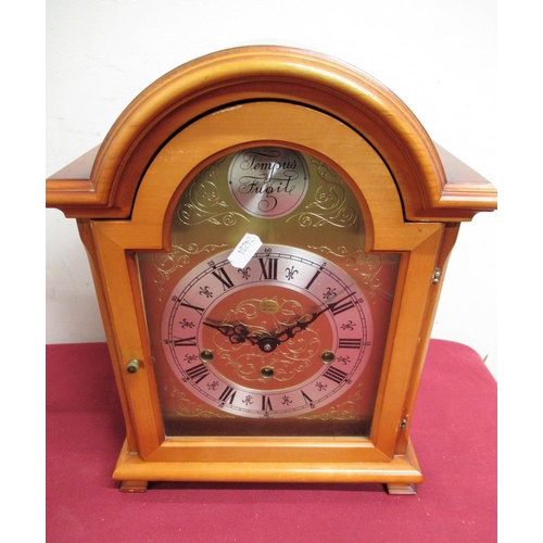 17 - 20th C mahogany finish Georgian style bracket clock, brass break arch dial with silvered chapter, re...