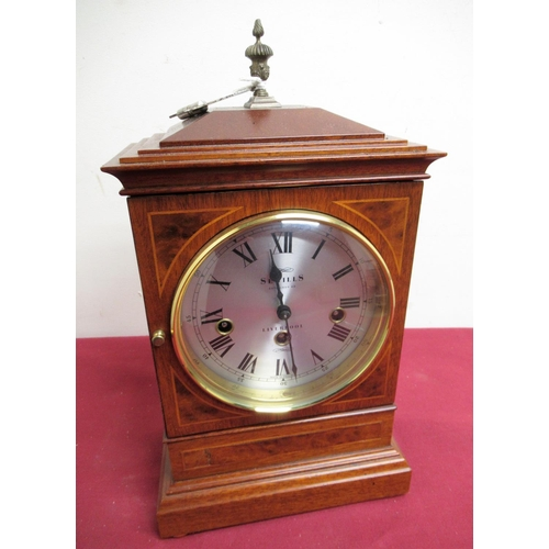 18 - 20th C inlaid mahogany Georgian style bracket clock circular silvered dial, retailed by Sewels, Live...