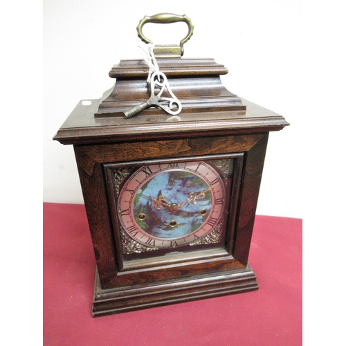 19 - 20th C Georgian style mahogany bracket clock with silvered chapter, three train Wuersch triple chimi...