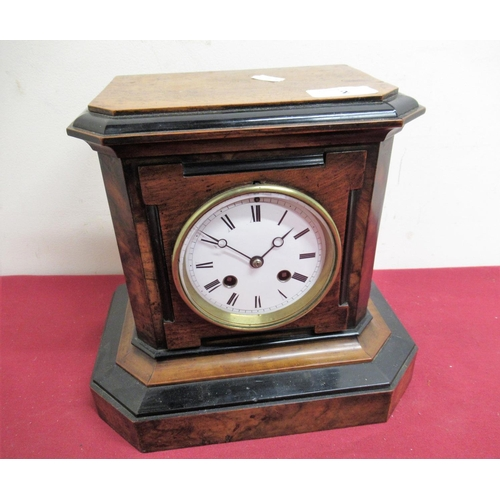 2 - 19th C French walnut and ebonised mantel clock, two train count wheel striking movement numbered 106...