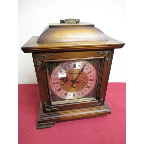 20 - 20th C Kieninger mahogany cased Georgian style bracket clock, bass dial with silvered chapter and ma...