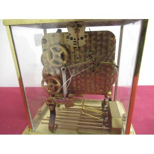 22 - Mid 20th C Schatz mantel clock lacquered brass case  with four glazed panels on platform base, three...