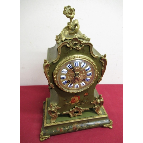 24 - Late 19th C French rococo style mantel clock, painted case with rose decoration and applied gilt met...
