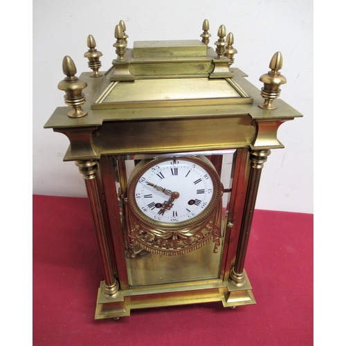27 - Early 20th C French four glass mantel clock, gilt brass architectural case enclosing four bevel edge...